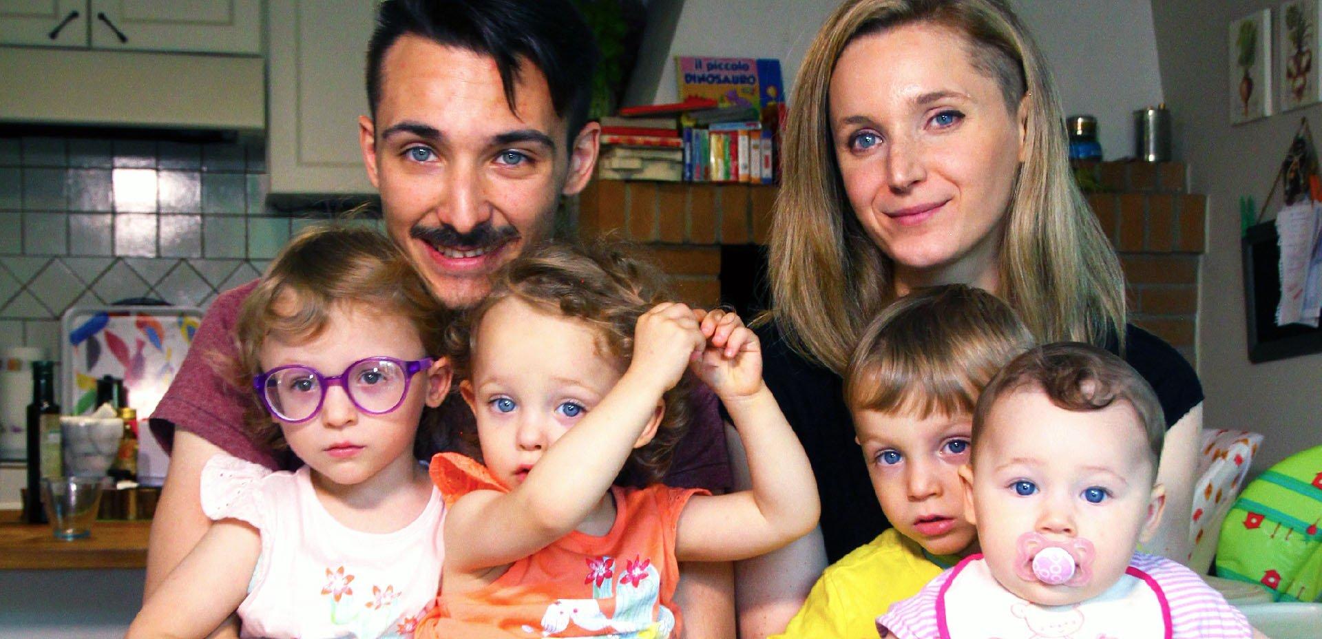 quattro figli vegani di Enrico e Francesca