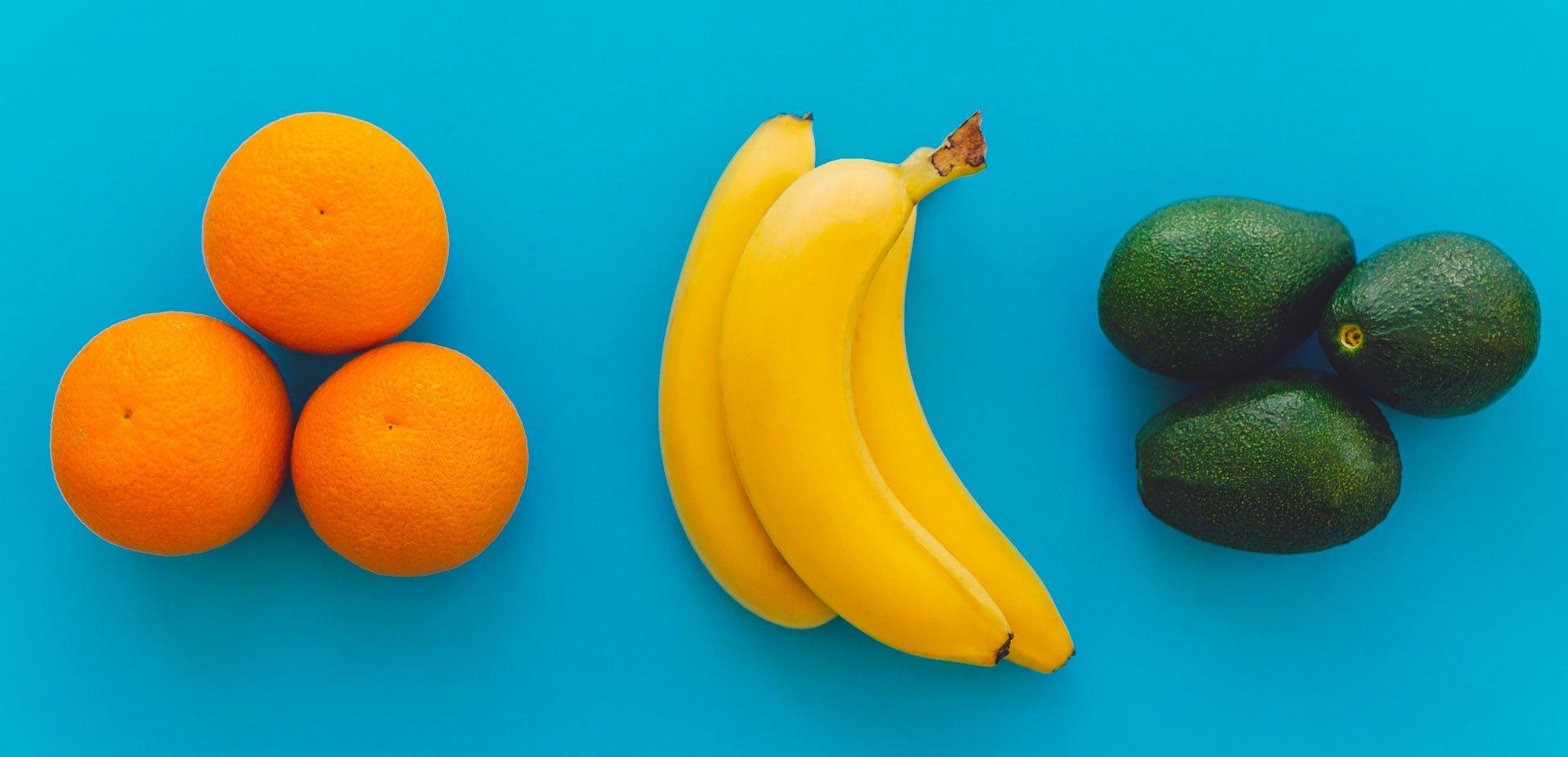 arance, banane, avocado per buon umore