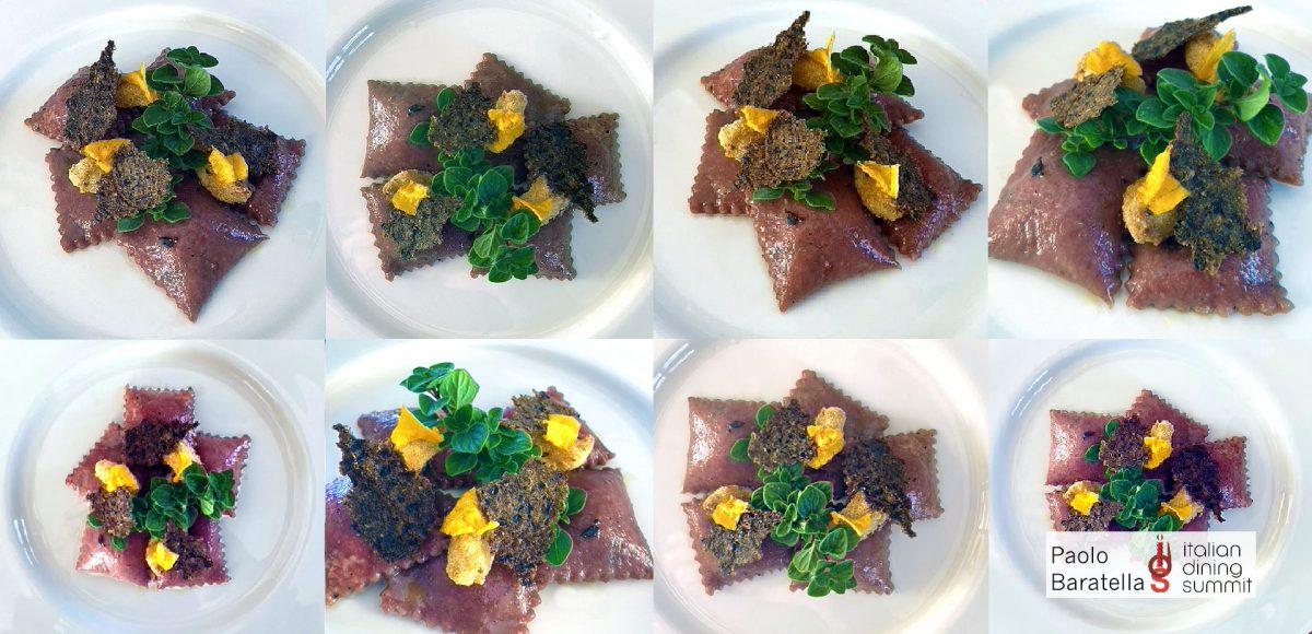 """Ravioli alla barbabietola con ripieno di """"ricotta"""" e olive, cracker e crocchette"""