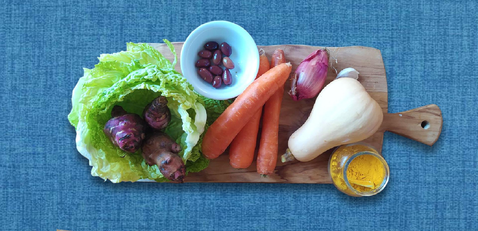 zucca violina, carote, topinambur, olive, verza, cipolla