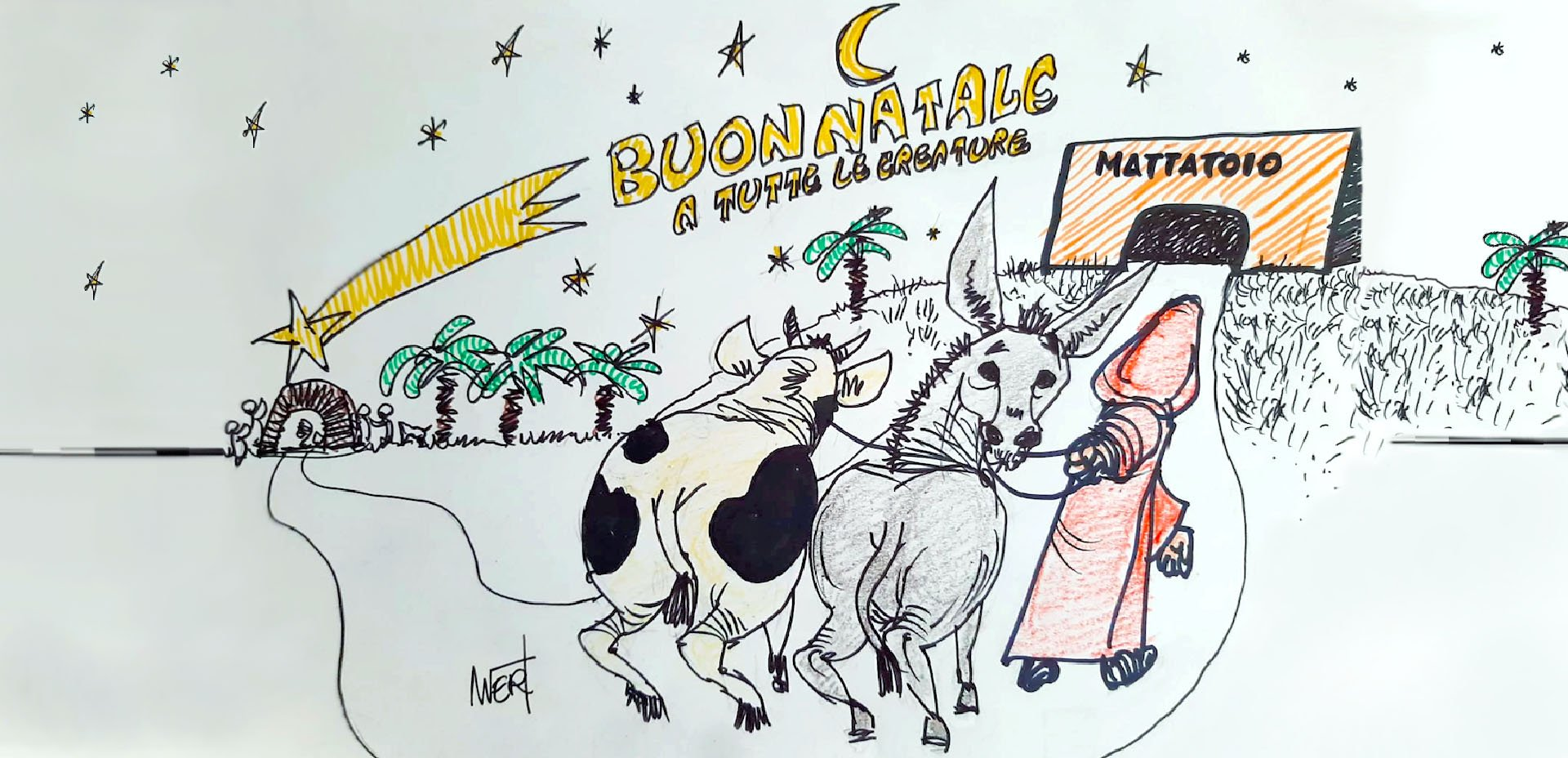 Per un Natale in consapevolezza, vignetta di Massimo Wertmuller