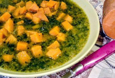 Zuppa di amaranto, cavolo nero e batata