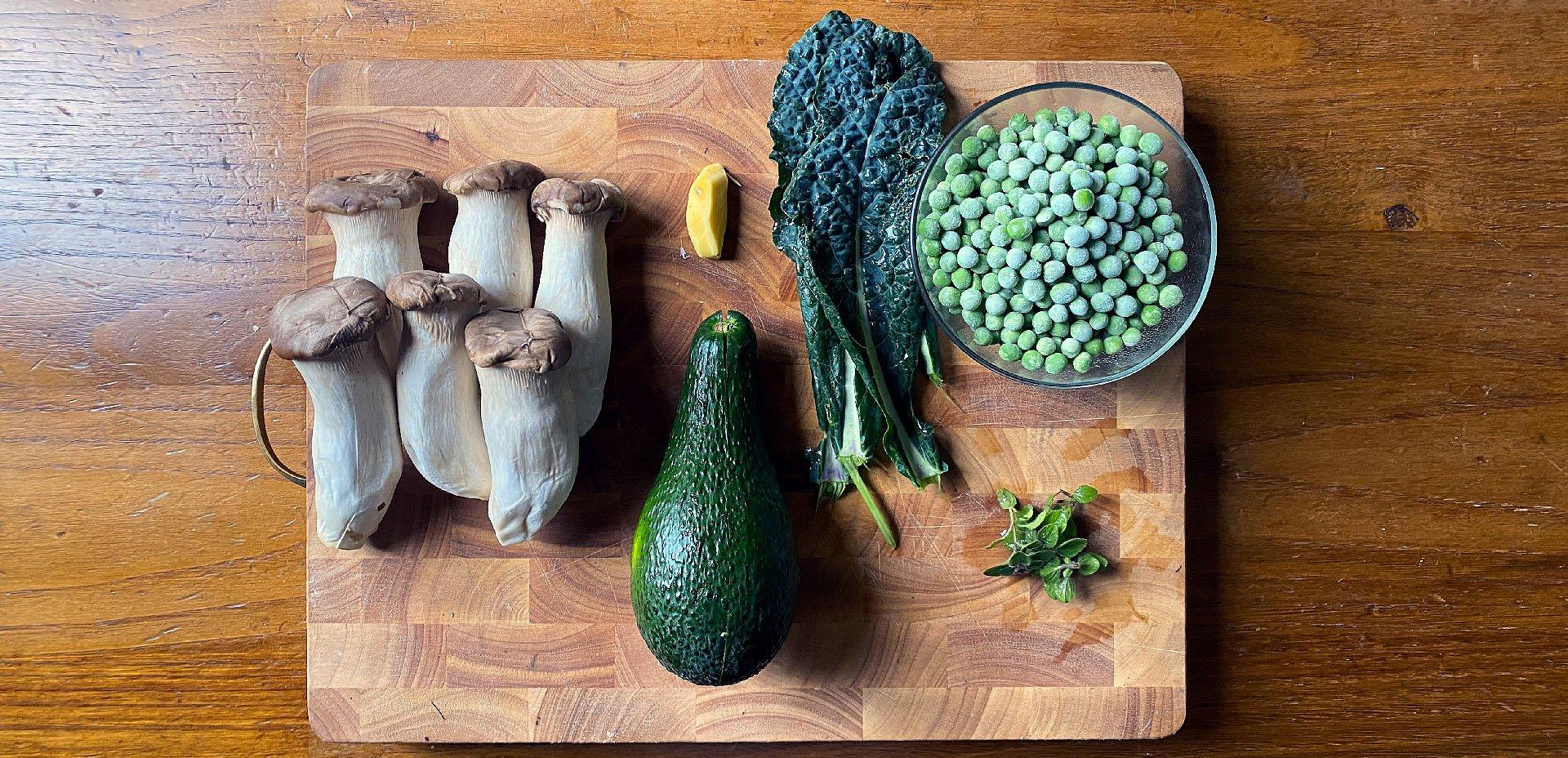 ingredienti per Il King Oyster e la rosa verde