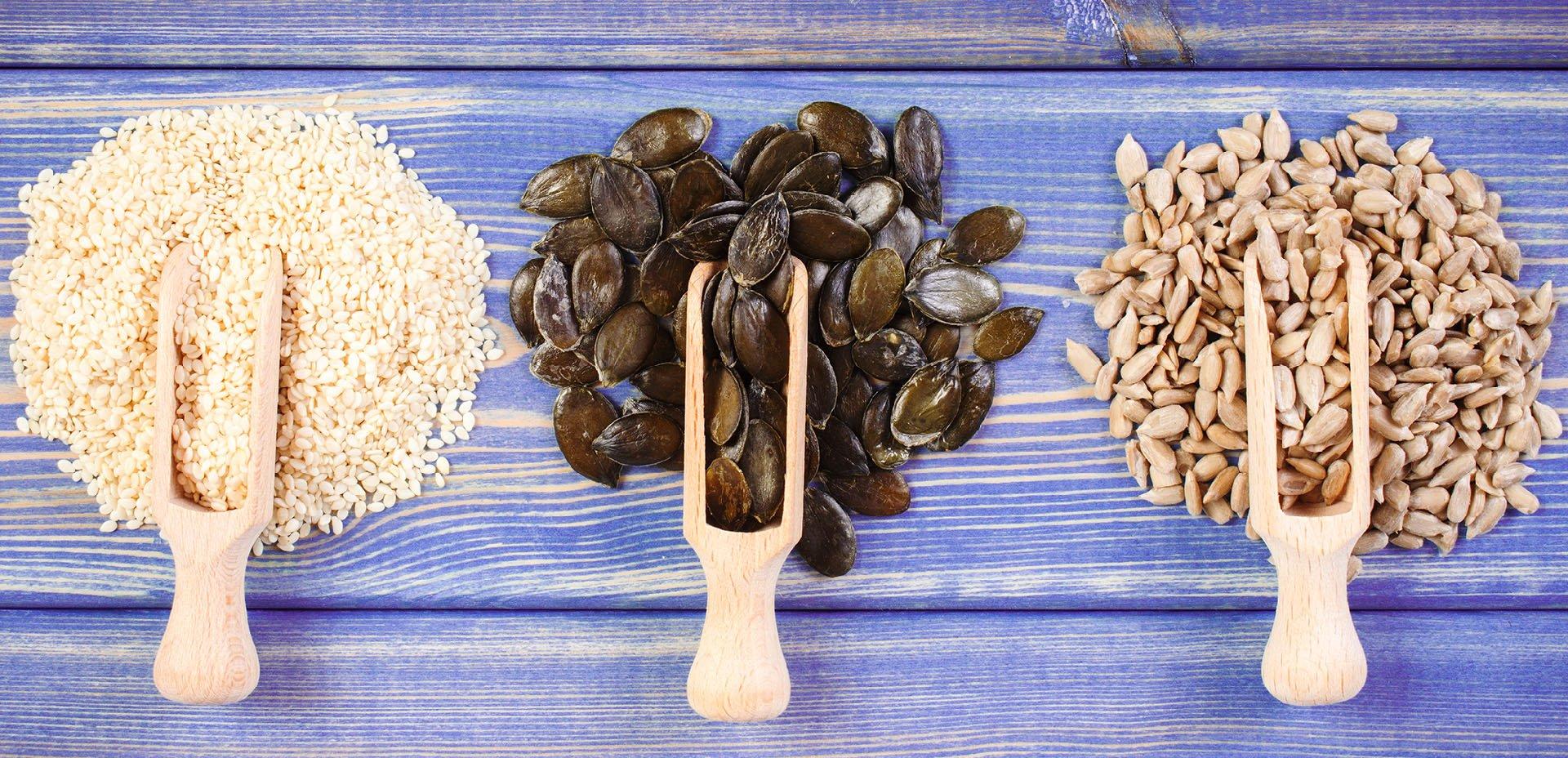 semi di sesamo, semi di zucca, semi di girasole