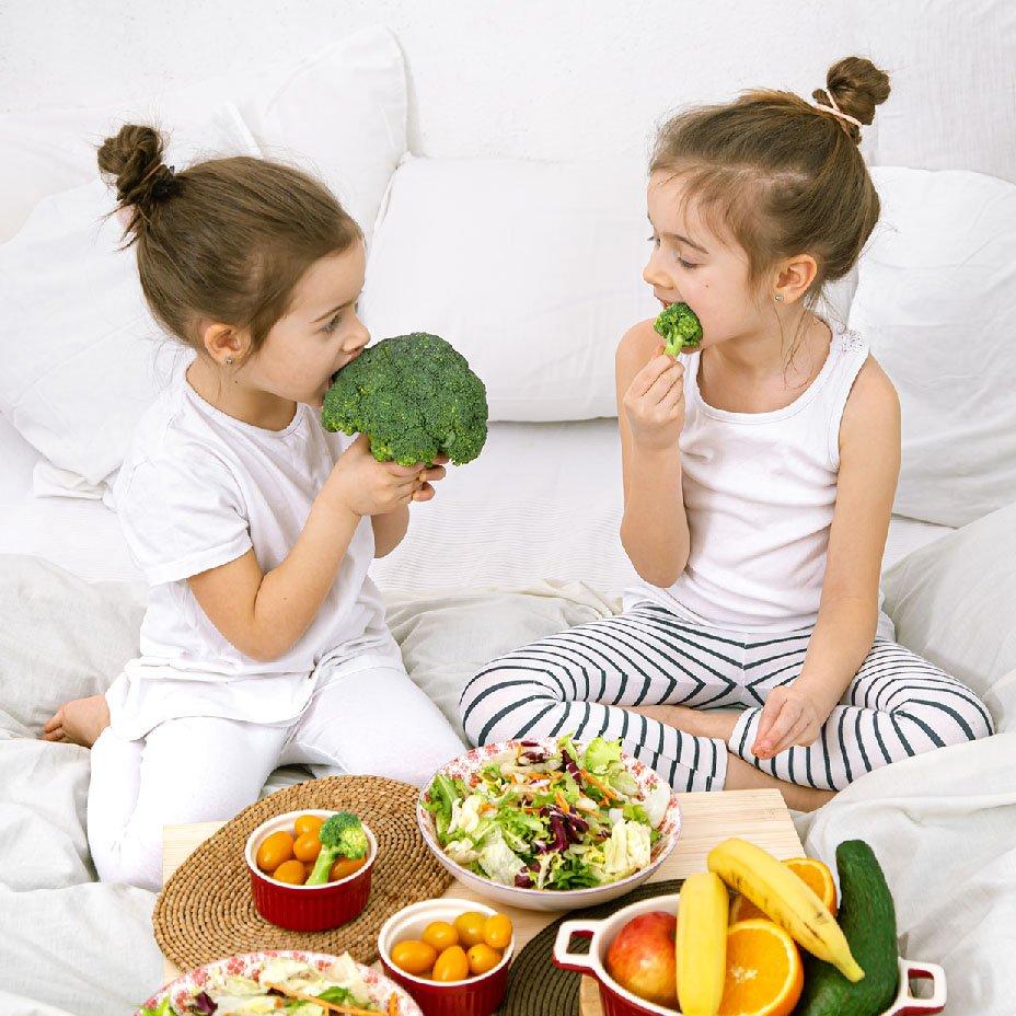 bambini, frutta, verdura
