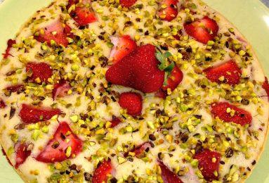 Torta alle fragole e pistacchi