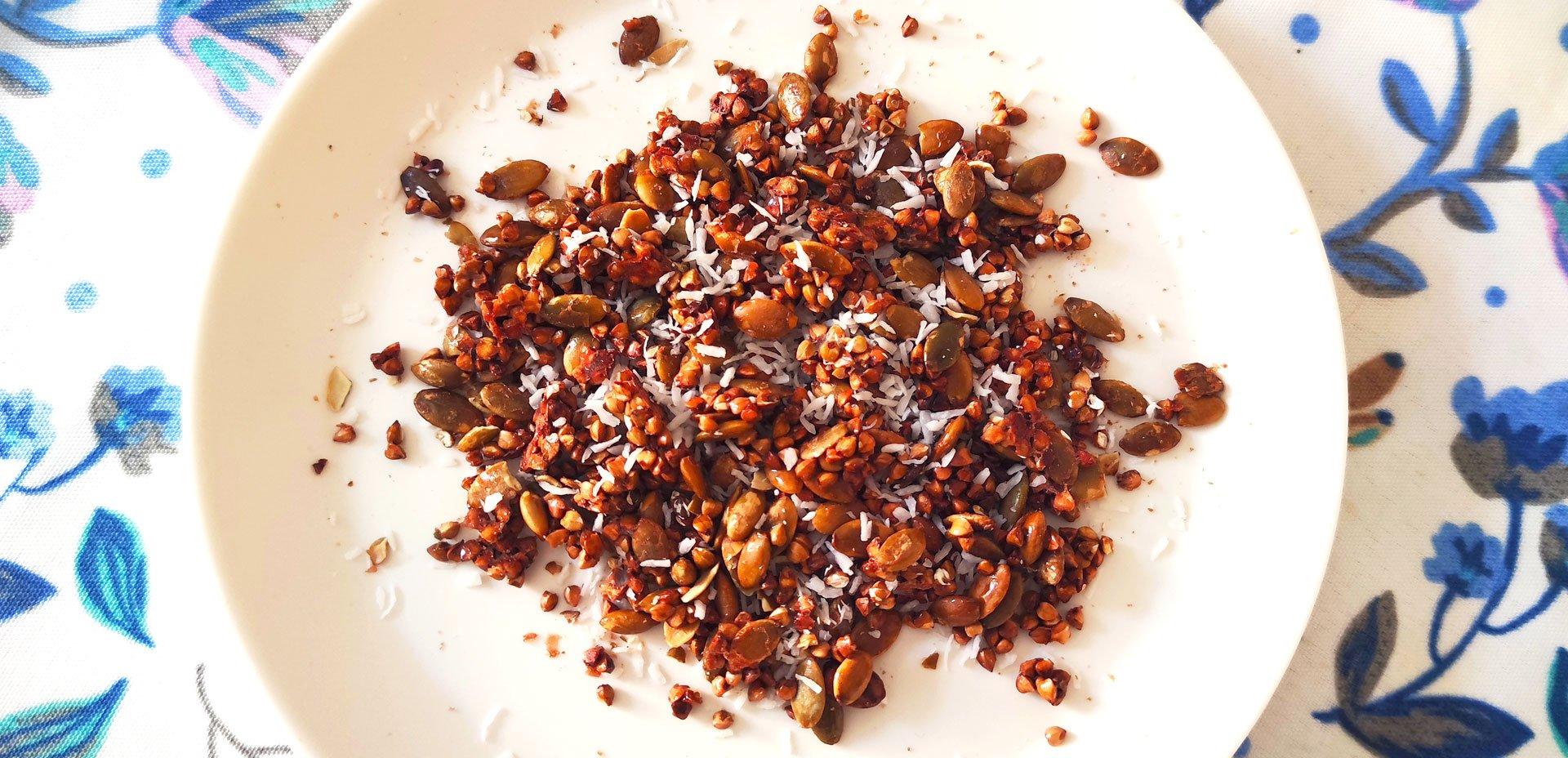 granola di grano saraceno e cocco