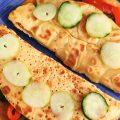 Piadine di ceci agli spinaci e peperoni