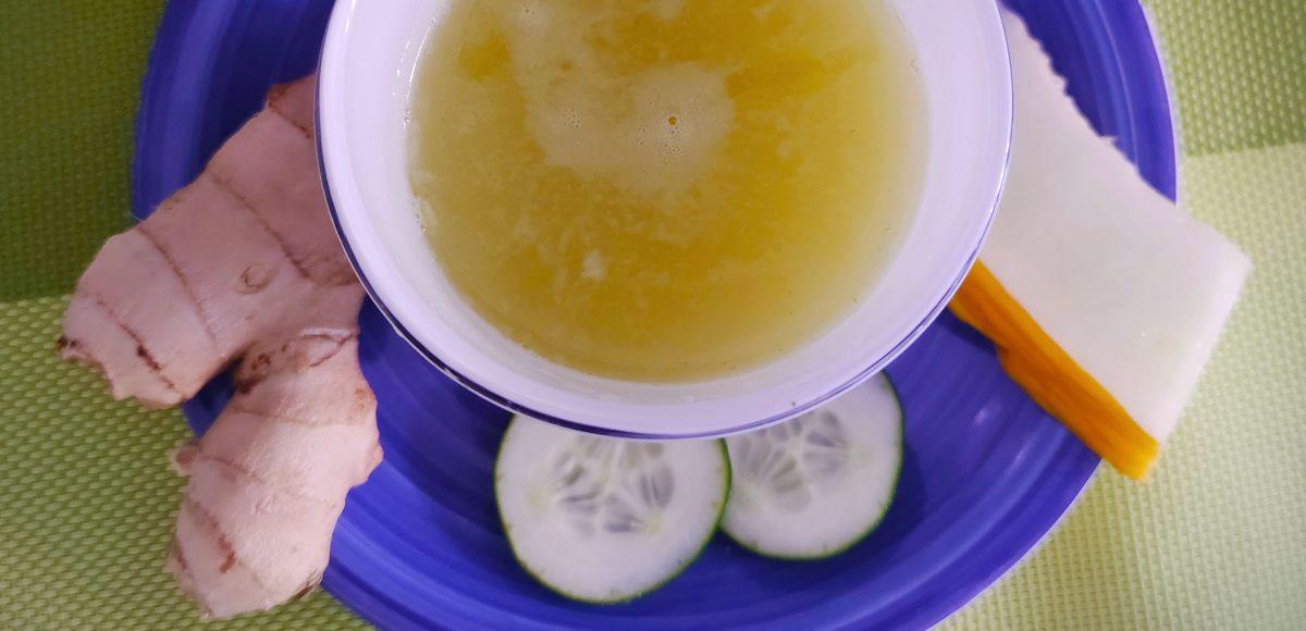 Estratto di melone invernale, cetriolo e zenzero